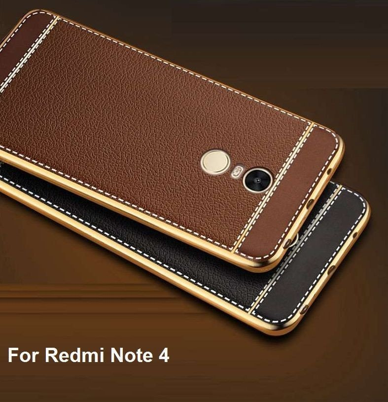 VAKU ® XIAOMI Redmi Note 4 Leather Stiched Gold ...