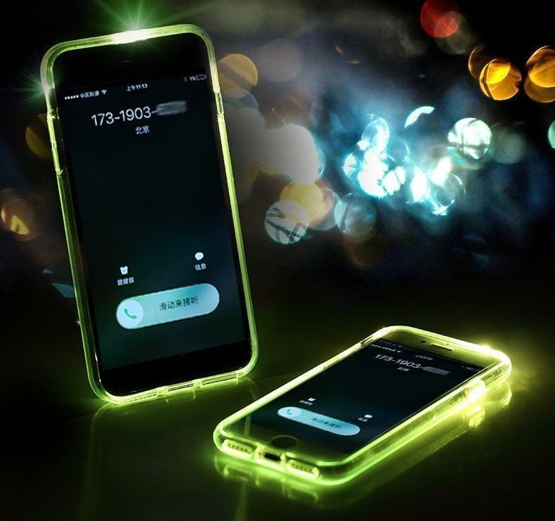 rock apple iphone 7 led light tube case with flash alert soft silicon case. Black Bedroom Furniture Sets. Home Design Ideas