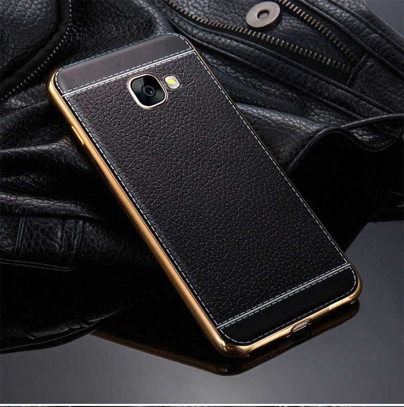 Vaku 174 Samsung J7 Prime Leather Stiched Gold Electroplated Soft Tpu Back Cover Samsung By