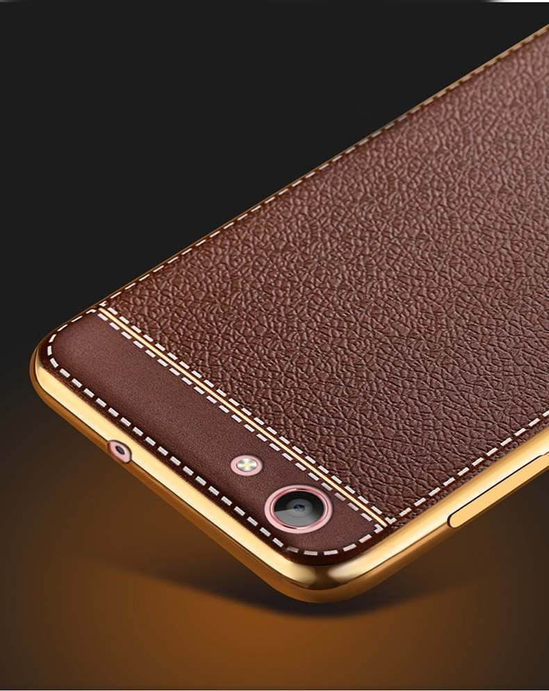 Vaku 174 Oppo A57 Leather Stiched Gold Electroplated Soft