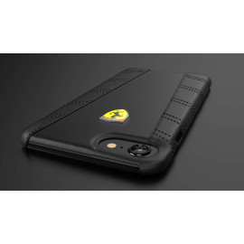 Ferrari ® Apple iPhone 7 Plus BLACK EDITION Leather Stitched Dual-Material Leather Back Cover