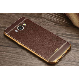 VAKU ® Samsung Galaxy A8 Leather Stiched Gold Electroplated Soft TPU Back Cover