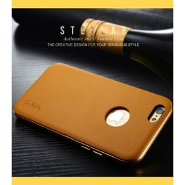 Stellar ® Apple iPhone 6 / 6S G.Lider Ultra-thin Aluminium Metal Bumper Authentic Genuine Leather Back Cover