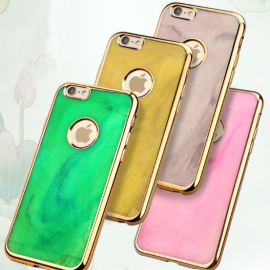 MeePhone ® Apple iPhone 6 Plus / 6S Plus Jade Precious Stone Finish Gold Electroplated Bumper + Metallic Logo Display Silicon Back Cover