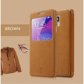 Baseus ® Samsung Galaxy Note 4 Smart Terse WindowView Suede Leather Case Flip Cover