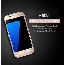 Vaku ® Samsung Galaxy S7 4800mAh Rechargeable Power Bank Protective Case + Kickstand Back Cover