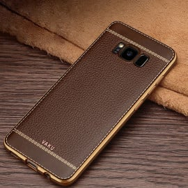 Vaku ® Samsung Galaxy S8 Leather Stitched Gold Electroplated Soft TPU Back Cover