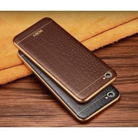 VAKU ® VIVO V5 European Leather Stiched Gold Electroplated Soft TPU Back Cover