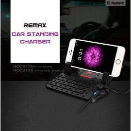 Remax ® Cradle Convenient Anti-Slip Nano Grip Multiple Position with inbuilt Dual Charging Cable Phone Holder / Mount