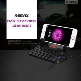 Remax ® Cradle Convenient Anti-Slip Nano Grip Multiple Position with inbuilt Dual Charging Cable Phone Holder / Mount