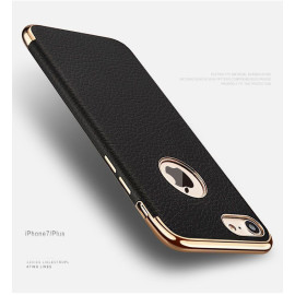 VAKU ® Apple iPhone 7 Clint Leather Grained Series Ultra-thin Metal Electroplating Splicing PC Back Cover