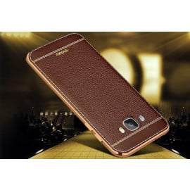 VAKU ® Samsung Galaxy J5 (2016) Leather Stiched Gold Electroplated Soft TPU Back Cover