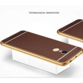 VAKU ® XIAOMI Redmi Note 4 Leather Stiched Gold Electroplated Soft TPU Back Cover