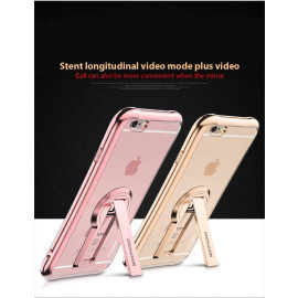 MeePhone ® Apple iPhone 6 / 6S Metal Electroplated Bumper with FullView Transparent Finish + inbuilt Kickstand Back Cover