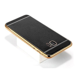 VAKU ® Samsung Galaxy S7 Edge Leather Stiched Gold Electroplated Soft TPU Back Cover