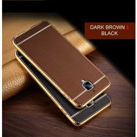 VAKU ® OnePlus 3 / 3T Leather Stiched Gold Electroplated Soft TPU Back Cover