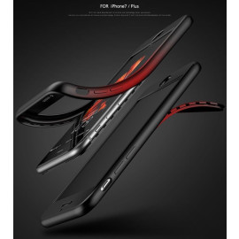 Vaku ® Apple iPhone 7 Plus - 7D Series Silicon Case  Dual-Colour Finish 3-in-1 Ultra-thin Slim Front Case + Tempered + Back Cover