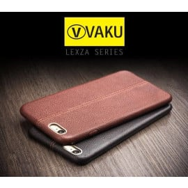 Vaku ® Oppo A57 Lexza Series Double Stitch Leather Shell with Metallic Logo Display Back Cover