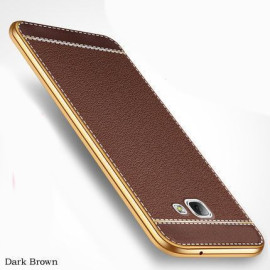 VAKU ® Samsung J7 Prime Leather Stiched Gold Electroplated Soft TPU Back Cover
