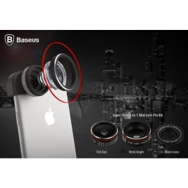Baseus ® Super Clear 3-in-1 Mini Lens Pro Kit with Wide Angle + Fish Eye + Macro Lens + Carry Bag + Clip Phone attachment Lens Kit Black
