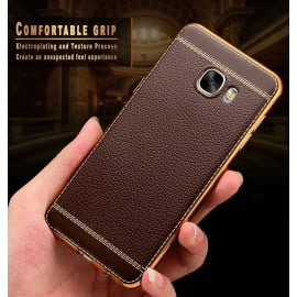 Vaku ® Samsung Galaxy A5 (2017) Leather Stitched Gold Electroplated Soft TPU Back Cover