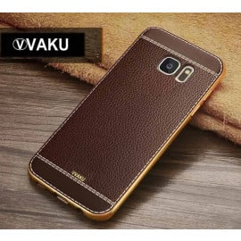 VAKU ® Samsung Galaxy S6 Leather Stiched Gold Electroplated Soft TPU Back Cover