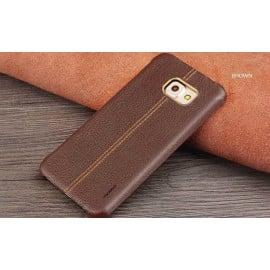 Vaku ® Samsung Galaxy S6 Lexza Series Double Stitch Leather Shell with Metallic Logo Display Back Cover