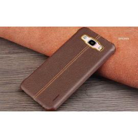 Vaku ® Samsung Galaxy J3 (2016) Lexza Series Double Stitch Leather Shell with Metallic Logo Display Back Cover