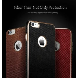 X-Level ® Apple iPhone 6 / 6S Earl Series Luxury Gold Plating Textured Leather Finish Back Cover
