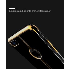 Shengo ® Apple iPhone 7 Piano Black Liner Series 2K Electroplated Finish Logo Display TPU Back Cover