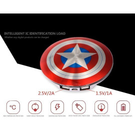 Marvel ® Official Avengers Captain America Shield Dual USB 6,800 mAh Power Bank Metallic Red n Blue