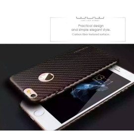 WUW ® Apple iPhone 6 Plus / 6S Plus Carbon Fiber Finish Ultra-Light & Thin Logo Display Grip Back Cover