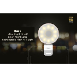 Rock ® Ultra-Bright 10 LED Smart Night Selfie Rechargeable Flash / Fill Light