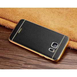 VAKU ® Samsung Galaxy Note 5 Leather Stiched Gold Electroplated Soft TPU Back Cover