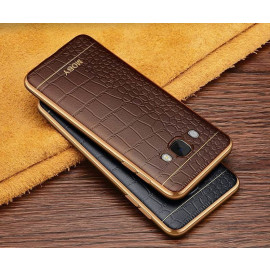 VAKU ® Samsung J7 (2016) European Leather Stitched Gold Electroplated Soft TPU Back Cover