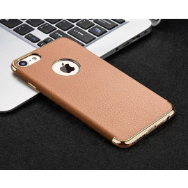VAKU ® Apple iPhone 6 / 6S Clint Leather Grained Series Ultra-thin Metal Electroplating Splicing PC Back Cover