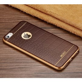 VAKU ® Apple iPhone 5 / 5S / SE European Leather Stiched Gold Electroplated Soft TPU Back Cover