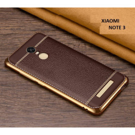 VAKU ® XIAOMI Redmi Note 3 Leather Stiched Gold Electroplated Soft TPU Back Cover