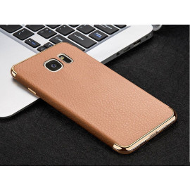 VAKU ® Samsung S7 Edge Clint Leather Grained Series Ultra-thin Metal Electroplating Splicing PC Back Cover